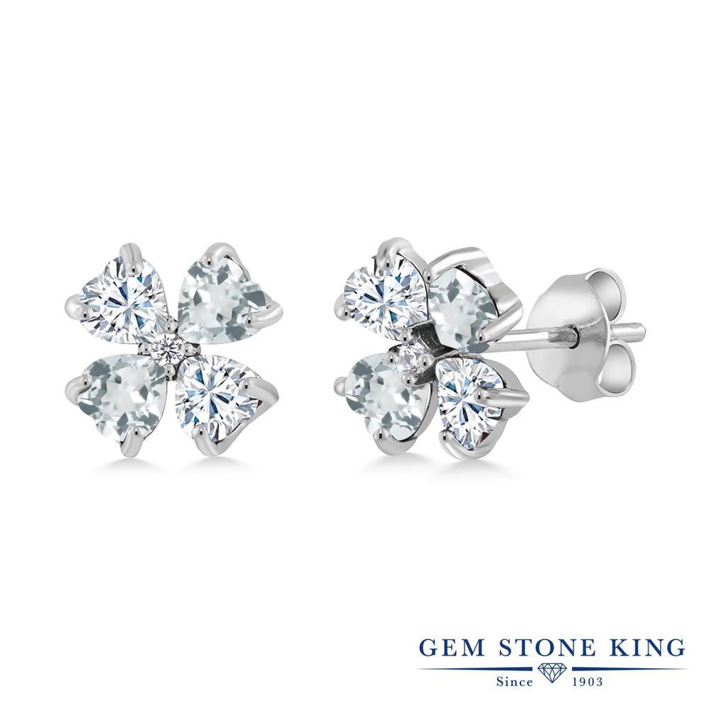 Gem Stone King 1.95カラット Forever Brilliant モアサナイト Charles & Colvard 天然 アクアマリン シルバー925 ピアス レディース モアッサナイト 小粒 スタッド 金属アレルギー対応 誕生日プレゼント