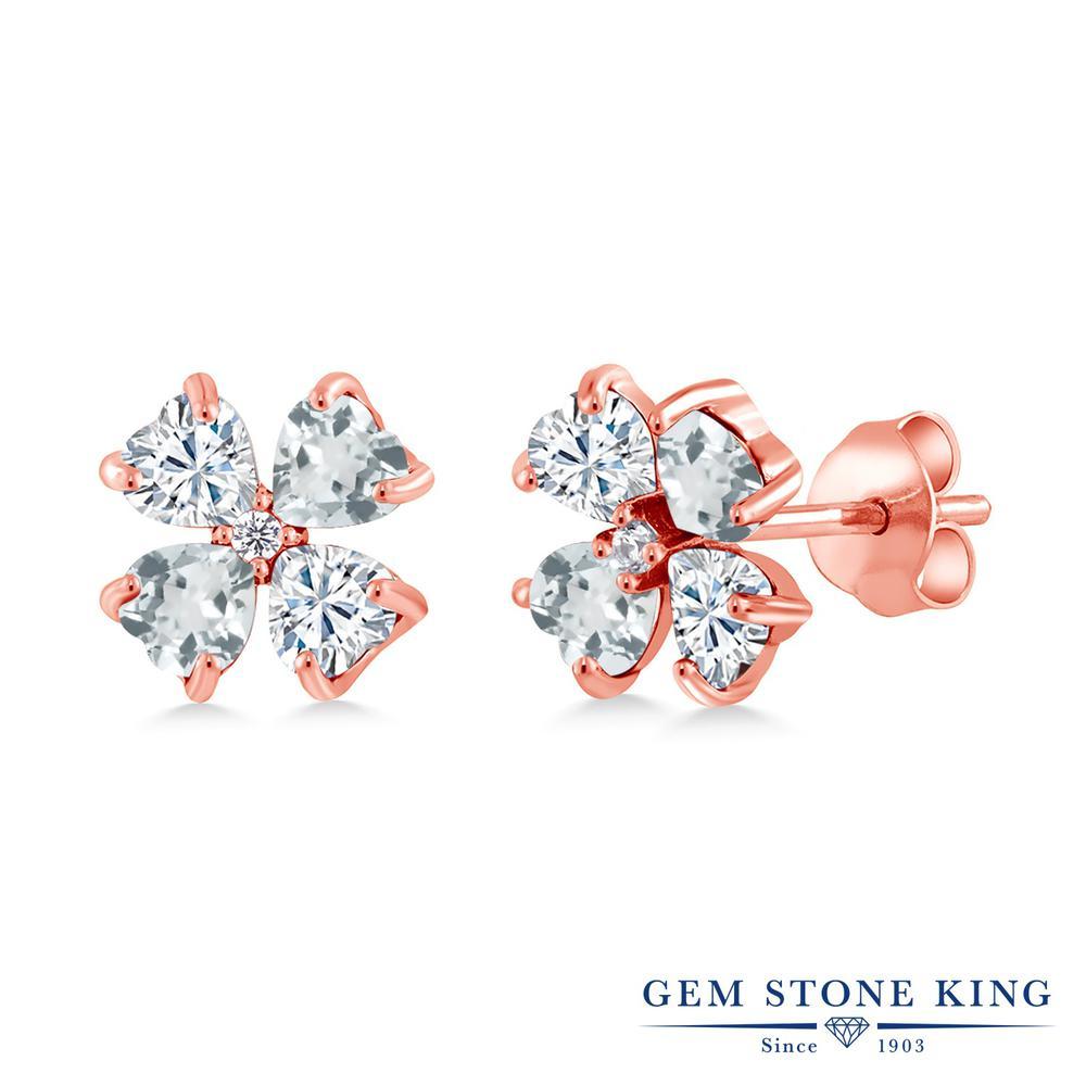 Gem Stone King 1.95カラット Forever Brilliant モアサナイト Charles & Colvard 天然 アクアマリン シルバー925 ピンクゴールドコーティング ピアス レディース モアッサナイト 小粒 スタッド 金属アレルギー対応 誕生日プレゼント