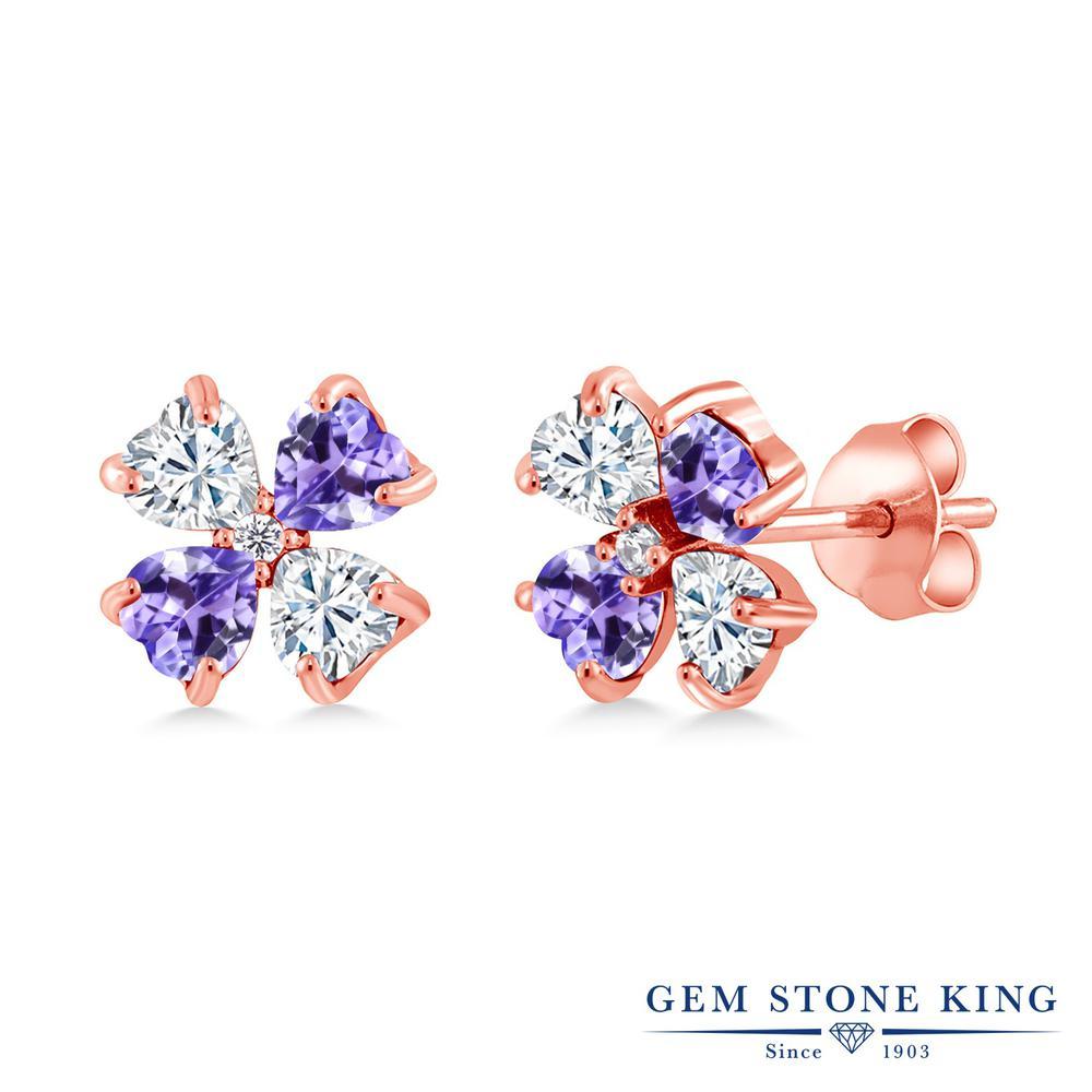 Gem Stone King 1.87カラット Forever Brilliant モアサナイト Charles & Colvard 天然石 タンザナイト シルバー925 ピンクゴールドコーティング ピアス レディース モアッサナイト 小粒 スタッド 金属アレルギー対応 誕生日プレゼント