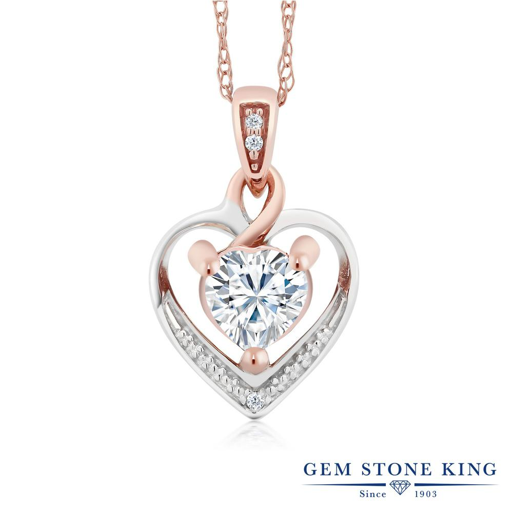 Gem Stone King 0.5カラット Forever Brilliant モアサナイト Charles & Colvard 天然 ダイヤモンド 10金 Two Toneゴールド(K10) ネックレス ペンダント レディース モアッサナイト 小粒 金属アレルギー対応 誕生日プレゼント