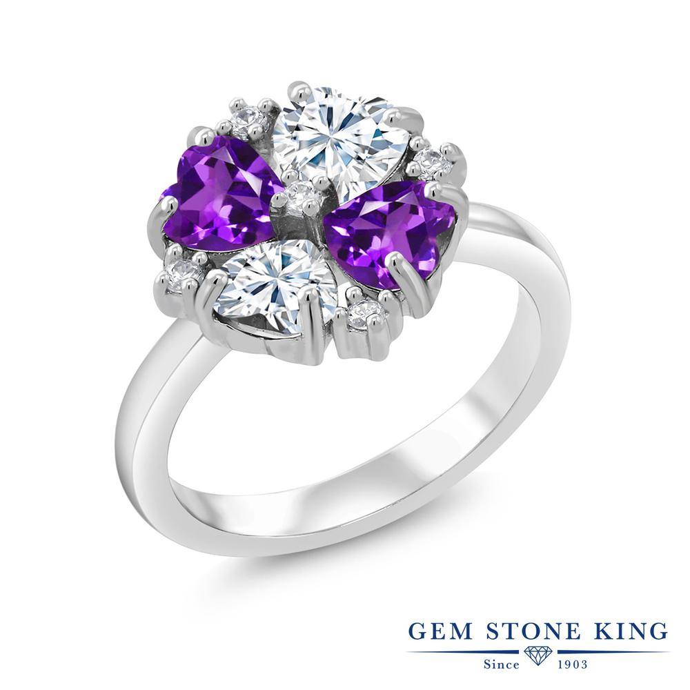 Gem Stone King 1.92カラット Forever Brilliant モアサナイト Charles & Colvard 天然 アメジスト シルバー925 指輪 リング レディース モアッサナイト 小粒 金属アレルギー対応 誕生日プレゼント