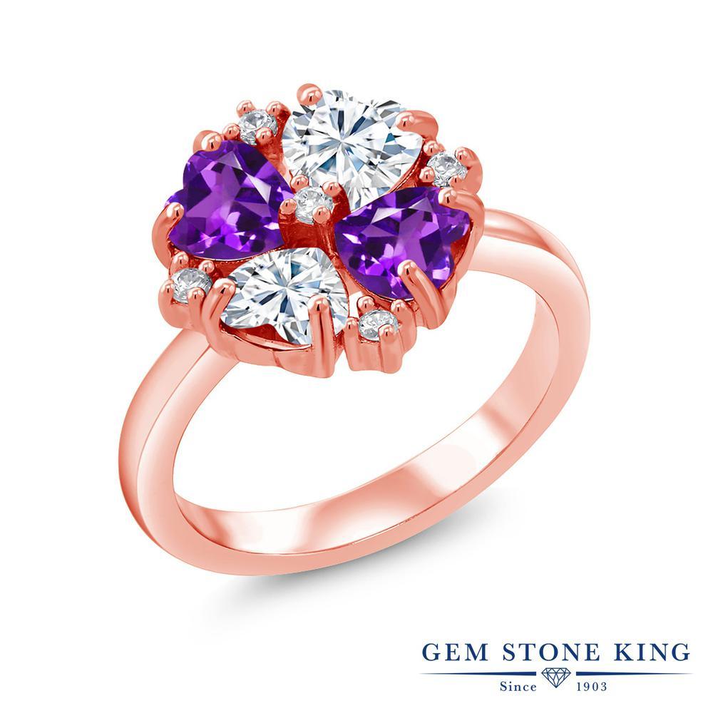 Gem Stone King 1.92カラット Forever Brilliant モアサナイト Charles & Colvard 天然 アメジスト シルバー925 ピンクゴールドコーティング 指輪 リング レディース モアッサナイト 小粒 金属アレルギー対応 誕生日プレゼント
