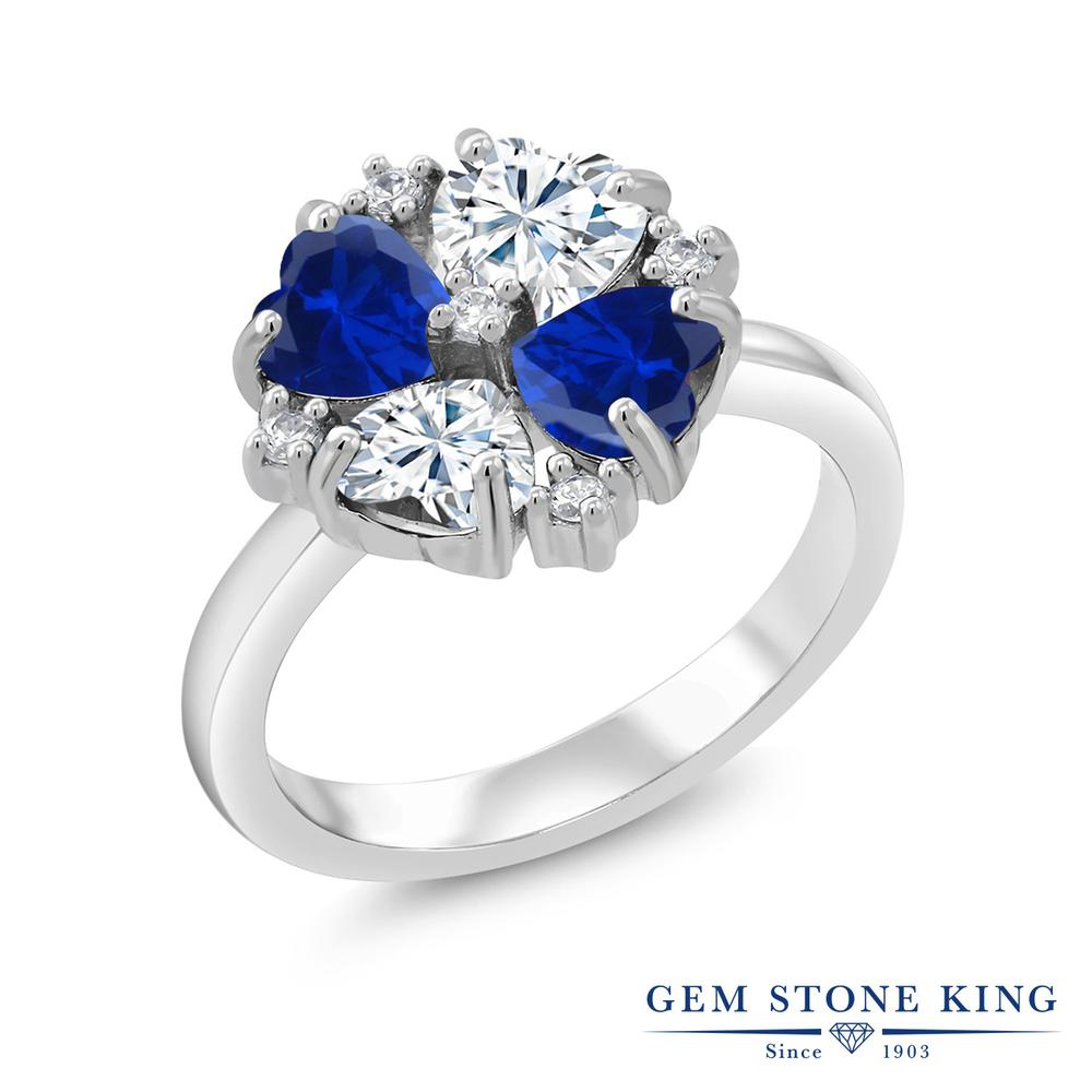 【10%OFF】 Gem Stone King 2.08カラット Forever Brilliant モアサナイト Charles & Colvard シミュレイテッド サファイア 指輪 リング レディース シルバー925 モアッサナイト 小粒 クリスマスプレゼント 女性 彼女 妻 誕生日