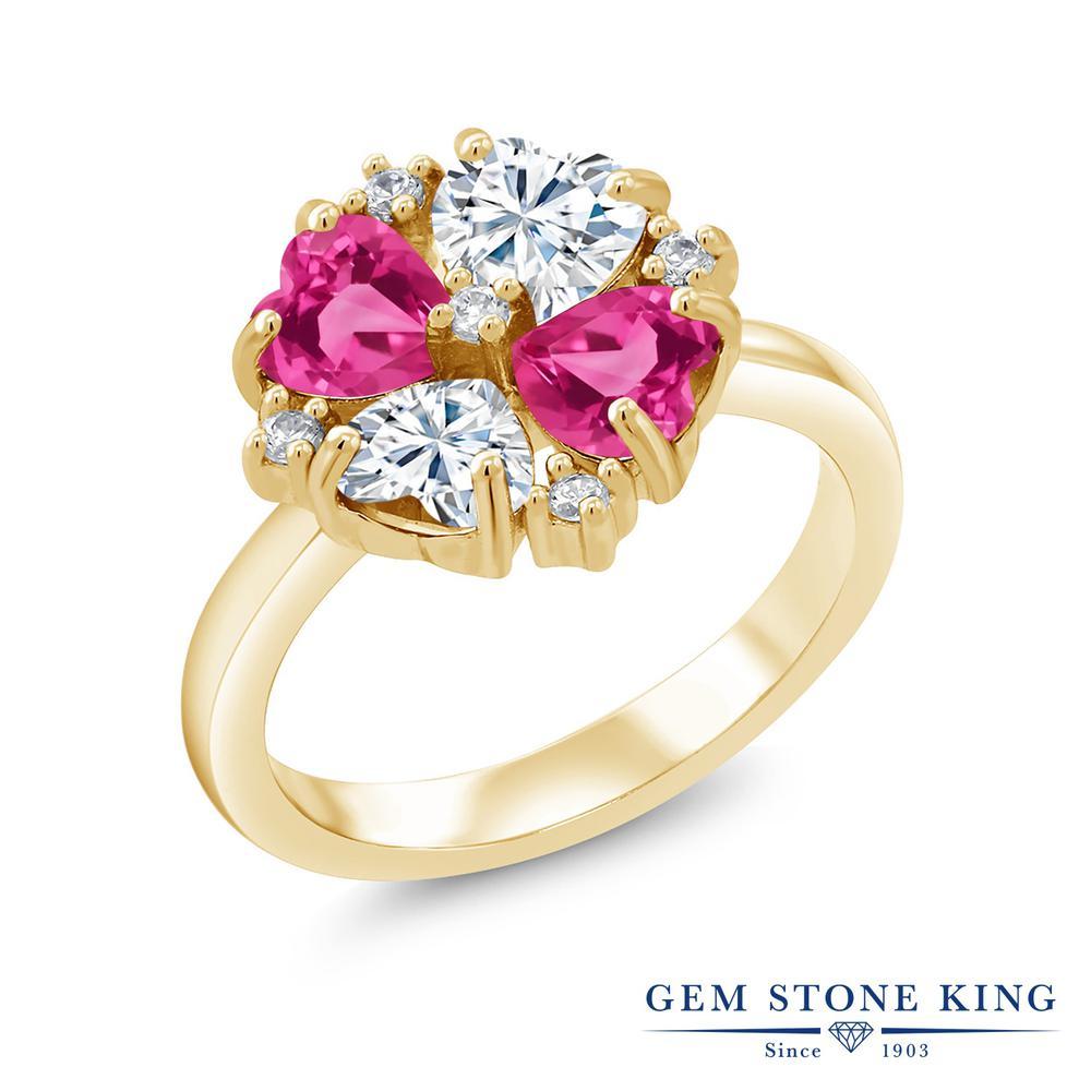 【10%OFF】 Gem Stone King 2.28カラット Forever Brilliant モアサナイト Charles & Colvard 合成ピンクサファイア 指輪 リング レディース シルバー925 イエローゴールド 加工 モアッサナイト 小粒 クリスマスプレゼント 女性 彼女 妻 誕生日
