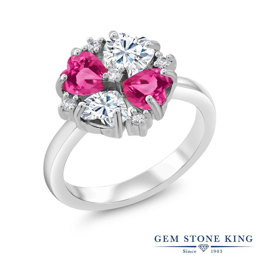【10%OFF】 Gem Stone King 2.28カラット Forever Brilliant モアサナイト Charles & Colvard 合成ピンクサファイア 指輪 リング レディース シルバー925 モアッサナイト 小粒 クリスマスプレゼント 女性 彼女 妻 誕生日