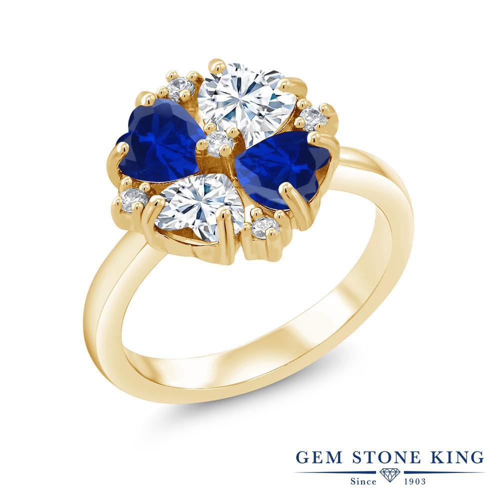 【10%OFF】 Gem Stone King 2.08カラット Forever Brilliant モアサナイト Charles & Colvard シミュレイテッド サファイア 指輪 リング レディース シルバー925 イエローゴールド 加工 モアッサナイト 小粒 クリスマスプレゼント 女性 彼女 妻 誕生日