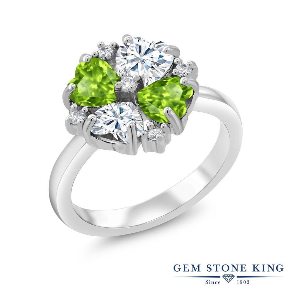 【10%OFF】 Gem Stone King 2.08カラット Forever Brilliant モアサナイト Charles & Colvard 天然石 ペリドット 指輪 リング レディース シルバー925 モアッサナイト 小粒 クリスマスプレゼント 女性 彼女 妻 誕生日