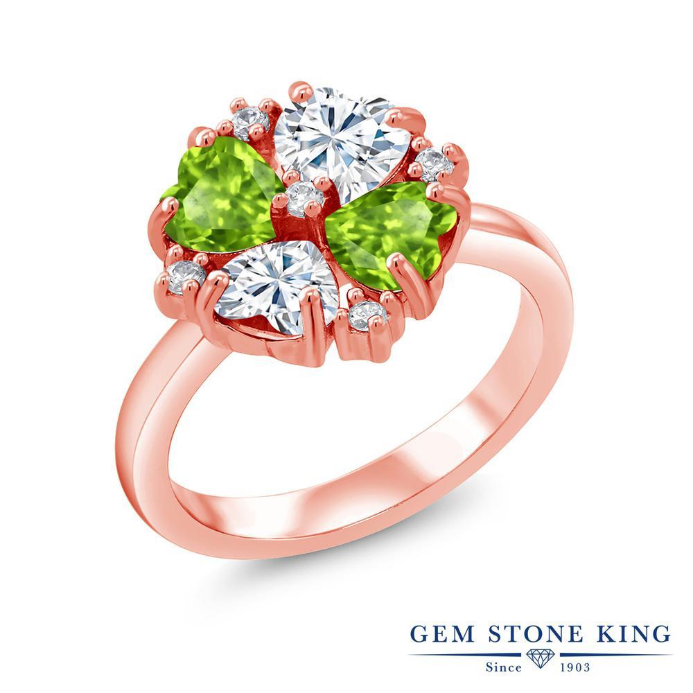 【10%OFF】 Gem Stone King 2.08カラット Forever Brilliant モアサナイト Charles & Colvard 天然石 ペリドット 指輪 リング レディース シルバー925 ピンクゴールド 加工 モアッサナイト 小粒 クリスマスプレゼント 女性 彼女 妻 誕生日