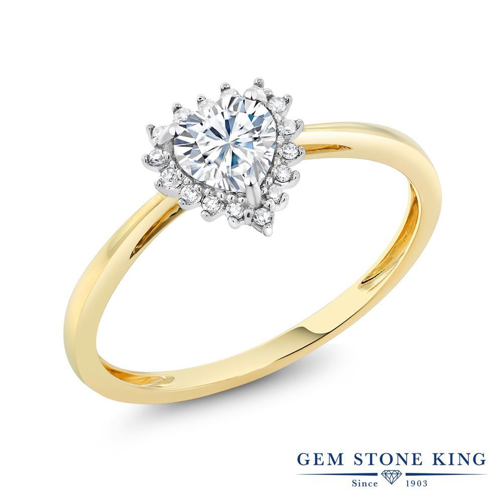 Gem Stone King 0.5カラット Forever Brilliant モアサナイト Charles & Colvard 天然 ダイヤモンド 10金 Two Toneゴールド(K10) 指輪 リング レディース モアッサナイト 小粒 金属アレルギー対応 誕生日プレゼント