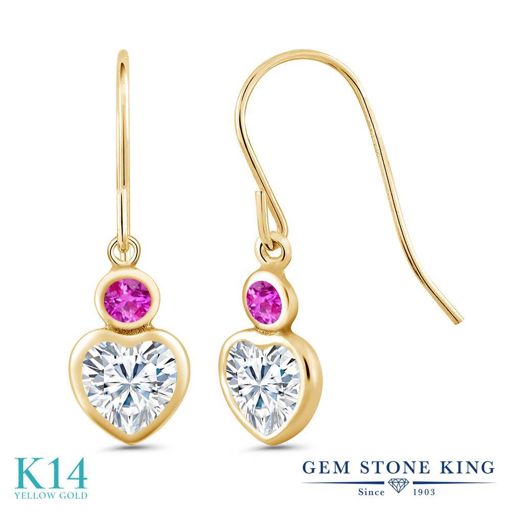 Gem Stone King 1.27カラット Forever Brilliant モアサナイト Charles & Colvard ピンクサファイア 14金 イエローゴールド(K14) ピアス レディース モアッサナイト 小粒 フレンチワイヤー 金属アレルギー対応 誕生日プレゼント