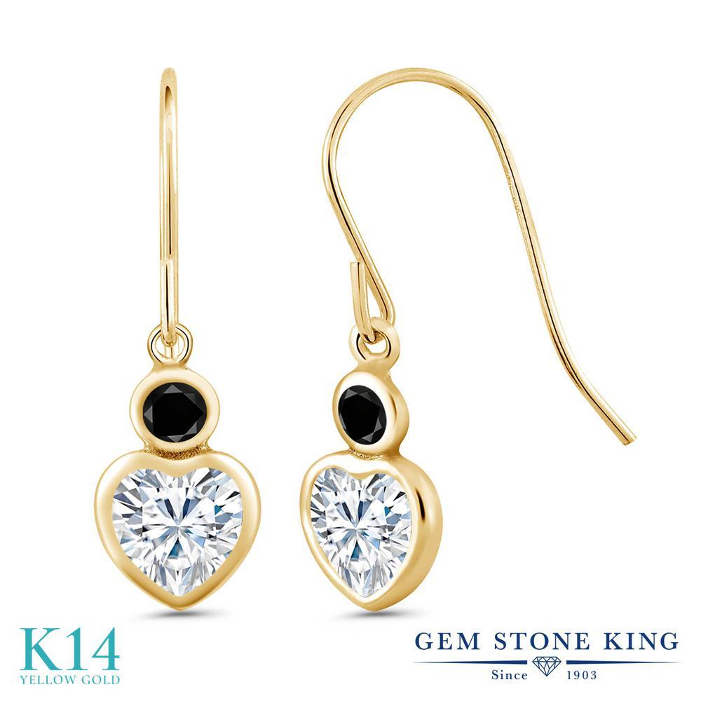 Gem Stone King 1.2カラット Forever Brilliant モアサナイト Charles & Colvard 天然ブラックダイヤモンド 14金 イエローゴールド(K14) ピアス レディース モアッサナイト 小粒 フレンチワイヤー 金属アレルギー対応 誕生日プレゼント
