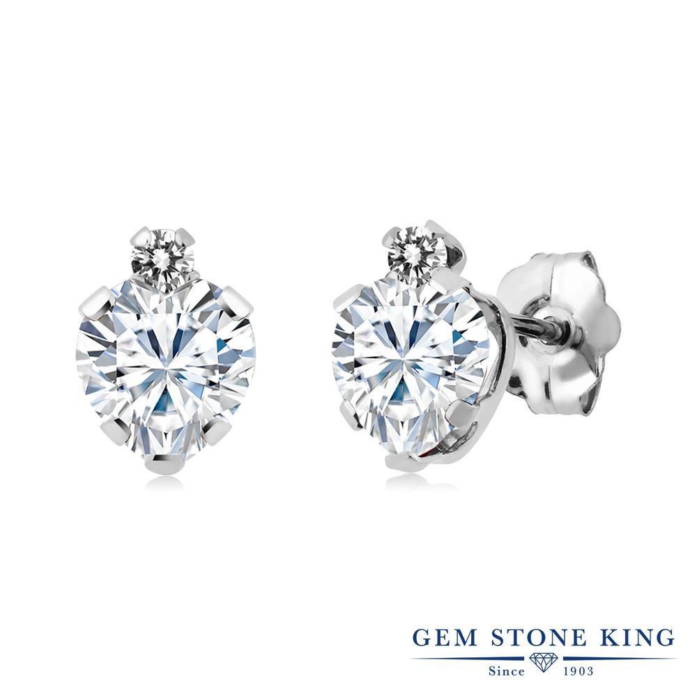 Gem Stone King 1.06カラット Forever Brilliant モアサナイト Charles & Colvard 天然 ダイヤモンド シルバー925 ピアス レディース モアッサナイト 小粒 金属アレルギー対応 誕生日プレゼント