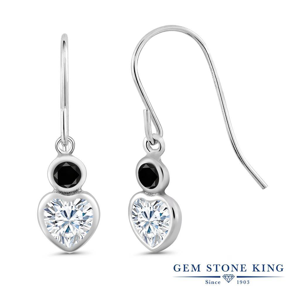 Gem Stone King 1.2カラット Forever Brilliant モアサナイト Charles & Colvard 天然ブラックダイヤモンド シルバー925 ピアス レディース モアッサナイト 小粒 フレンチワイヤー 金属アレルギー対応 誕生日プレゼント