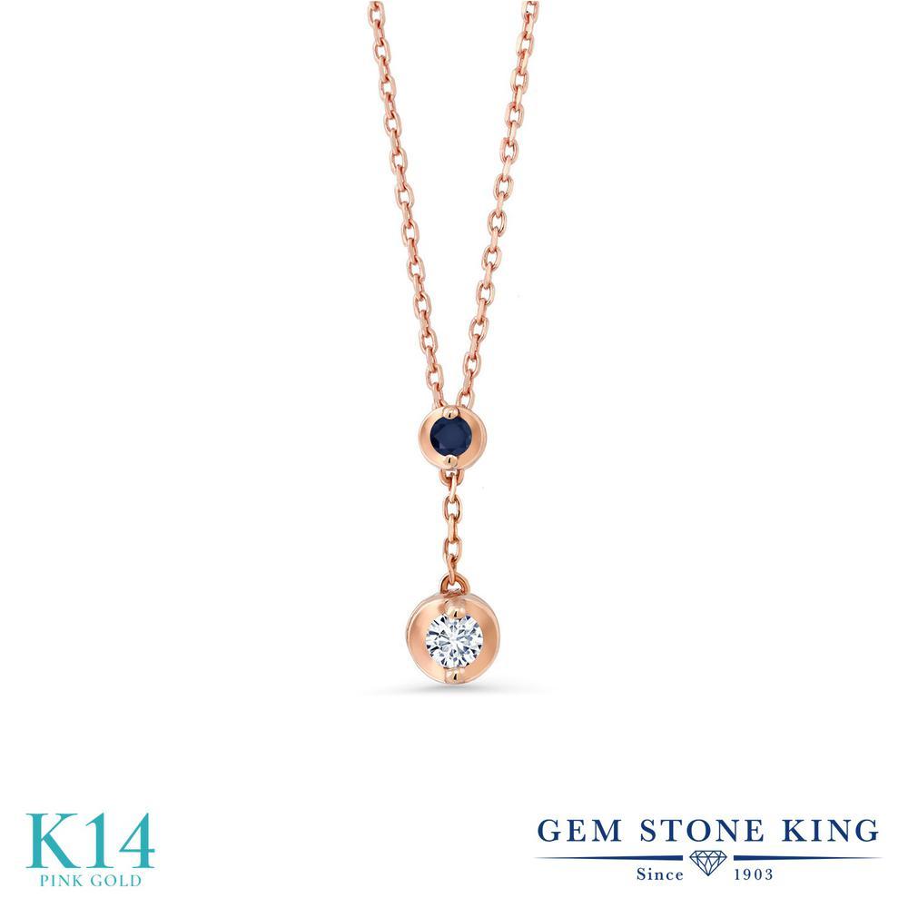 Gem Stone King 0.08カラット 合成ダイヤモンド 天然 サファイア 14金 ピンクゴールド(K14) ネックレス レディース ダイヤ 小粒 シンプル 金属アレルギー対応 誕生日プレゼント