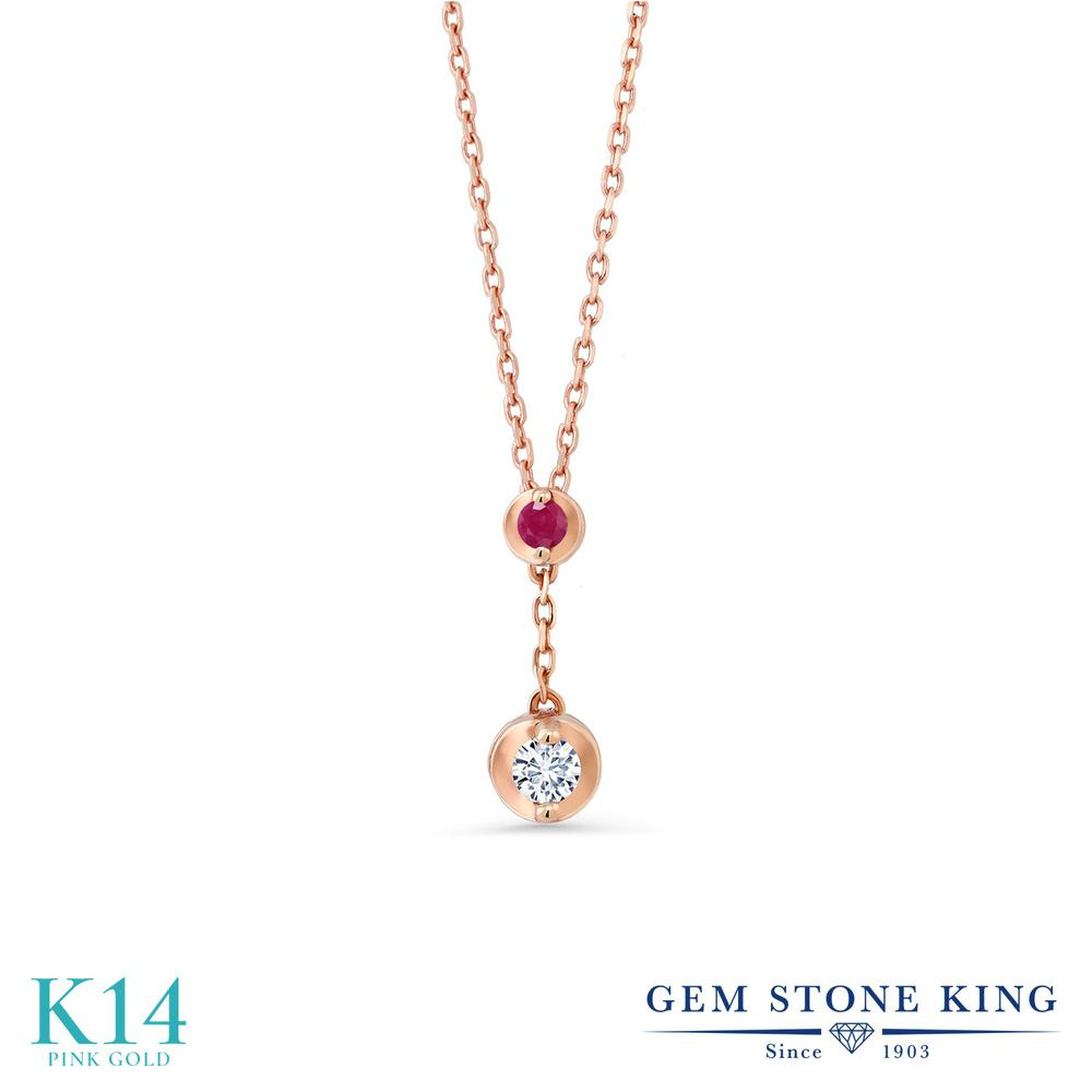 Gem Stone King 0.08カラット 合成ダイヤモンド 天然 ルビー 14金 ピンクゴールド(K14) ネックレス レディース ダイヤ 小粒 シンプル 金属アレルギー対応 誕生日プレゼント