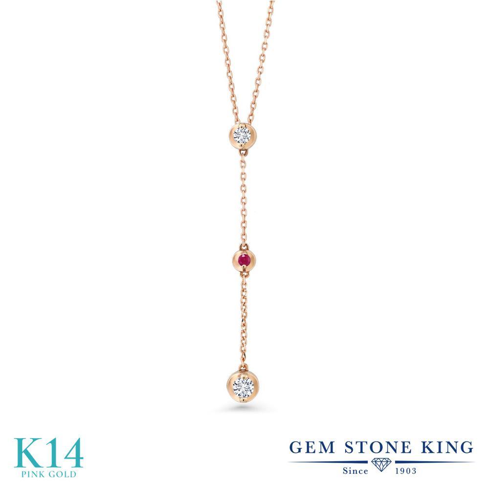 Gem Stone King 0.15カラット 合成ダイヤモンド 天然 ルビー 14金 ピンクゴールド(K14) ネックレス レディース ダイヤ 小粒 シンプル 華奢 細身 金属アレルギー対応 誕生日プレゼント