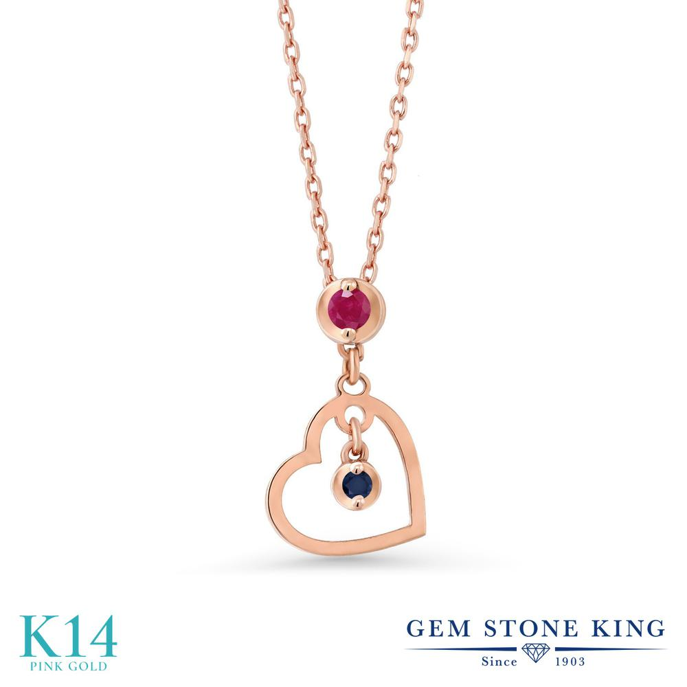 Gem Stone King 0.04カラット 天然 ルビー 天然 サファイア 14金 ピンクゴールド(K14) ネックレス レディース 小粒 シンプル 天然石 7月 誕生石 金属アレルギー対応 誕生日プレゼント