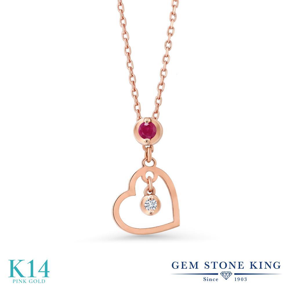 Gem Stone King 0.04カラット 天然 ルビー 合成ダイヤモンド 14金 ピンクゴールド(K14) ネックレス レディース 小粒 シンプル 天然石 7月 誕生石 金属アレルギー対応 誕生日プレゼント