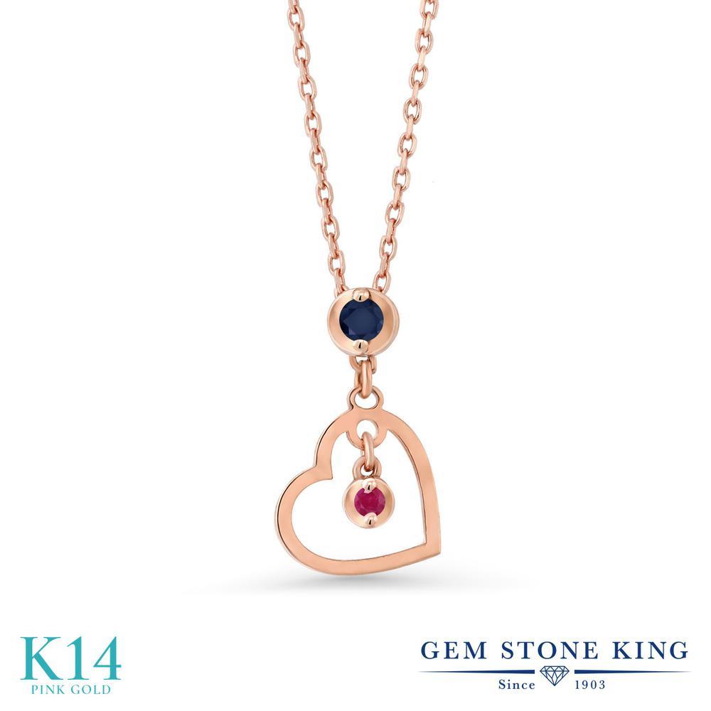 Gem Stone King 0.04カラット 天然 サファイア 天然 ルビー 14金 ピンクゴールド(K14) ネックレス レディース 小粒 シンプル 天然石 9月 誕生石 金属アレルギー対応 誕生日プレゼント