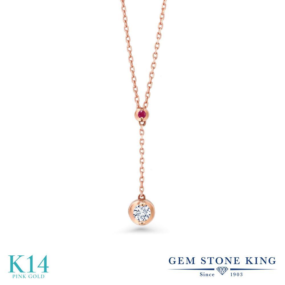 Gem Stone King 0.08カラット 合成ダイヤモンド 天然 ルビー 14金 ピンクゴールド(K14) ネックレス レディース ダイヤ 小粒 シンプル 華奢 細身 金属アレルギー対応 誕生日プレゼント