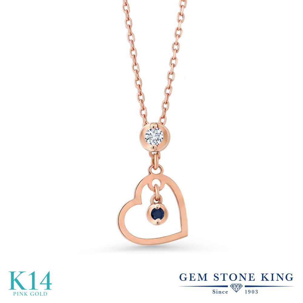 Gem Stone King 0.03カラット 合成ダイヤモンド 天然 サファイア 14金 ピンクゴールド(K14) ネックレス レディース ダイヤ 小粒 シンプル 金属アレルギー対応 誕生日プレゼント