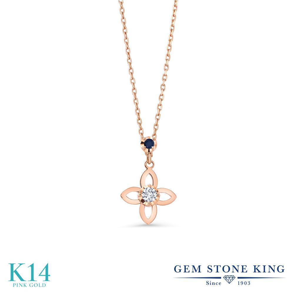 Gem Stone King 0.05カラット 合成ダイヤモンド 天然 サファイア 14金 ピンクゴールド(K14) ネックレス レディース ダイヤ 小粒 シンプル 金属アレルギー対応 誕生日プレゼント