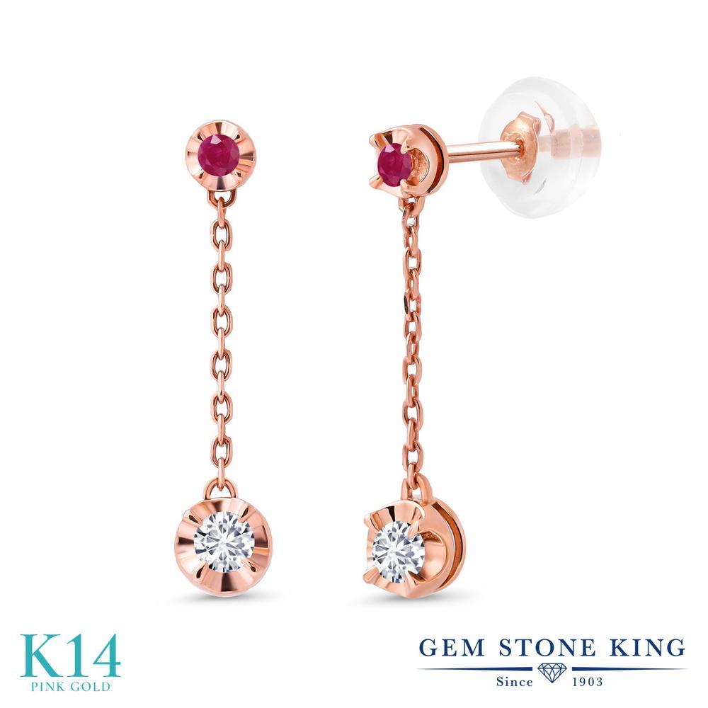 Gem Stone King 0.79カラット 合成ダイヤモンド 天然 ルビー 14金 ピンクゴールド(K14) ピアス レディース ダイヤ 小粒 華奢 細身 金属アレルギー対応 誕生日プレゼント