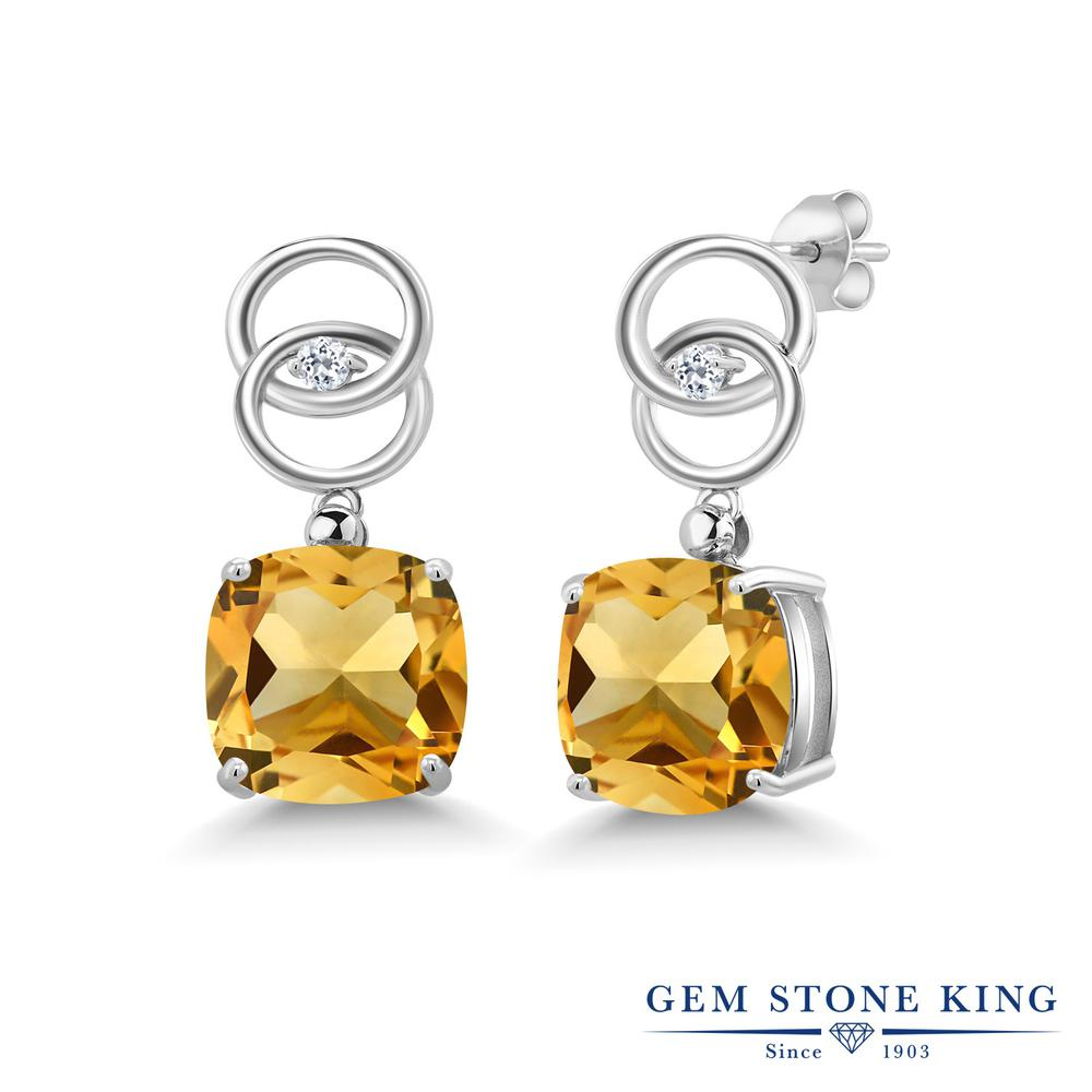 Gem Stone King 13.17カラット 天然 シトリン 天然 トパーズ (無色透明) シルバー925 ピアス レディース 大粒 ぶら下がり 天然石 11月 誕生石 金属アレルギー対応 誕生日プレゼント