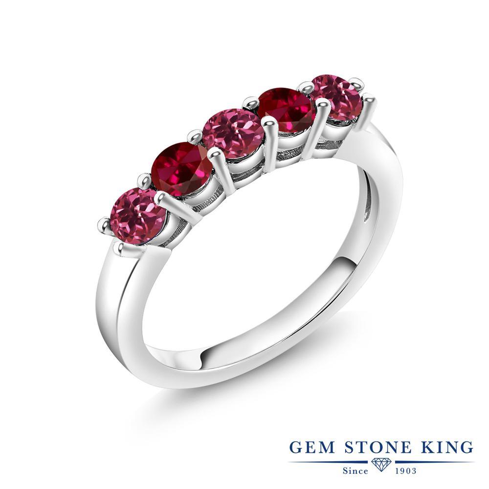 Gem Stone King 0.95カラット 天然 ピンクトルマリン 合成ルビー 指輪 リング レディース シルバー925 小粒 バンド 天然石 10月 誕生石 金属アレルギー対応