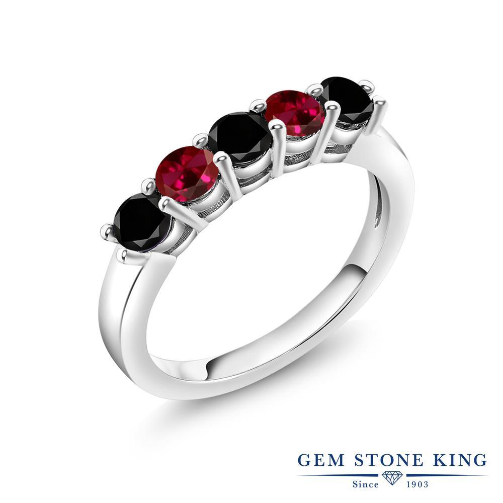 Gem Stone King 1.01カラット 天然ブラックダイヤモンド 合成ルビー シルバー925 指輪 リング レディース ブラック ダイヤ 小粒 バンド 天然石 4月 誕生石 金属アレルギー対応 結婚指輪 ウェディングバンド