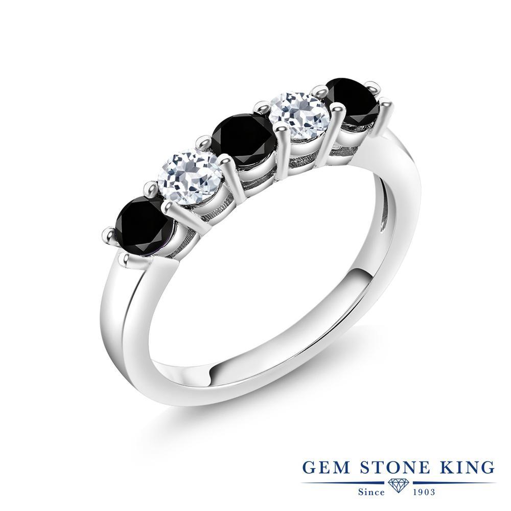Gem Stone King 0.94カラット 天然ブラックダイヤモンド 天然 トパーズ (無色透明) シルバー925 指輪 リング レディース ブラック ダイヤ 小粒 バンド 天然石 4月 誕生石 金属アレルギー対応 結婚指輪 ウェディングバンド