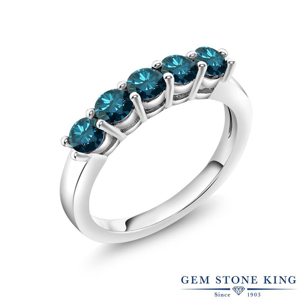 【10%OFF】 0.75カラット 天然 ブルーダイヤモンド 指輪 リング レディース シルバー925 ブルー ダイヤ 小粒 バンド 天然石 4月 誕生石 結婚指輪 ウェディングバンド