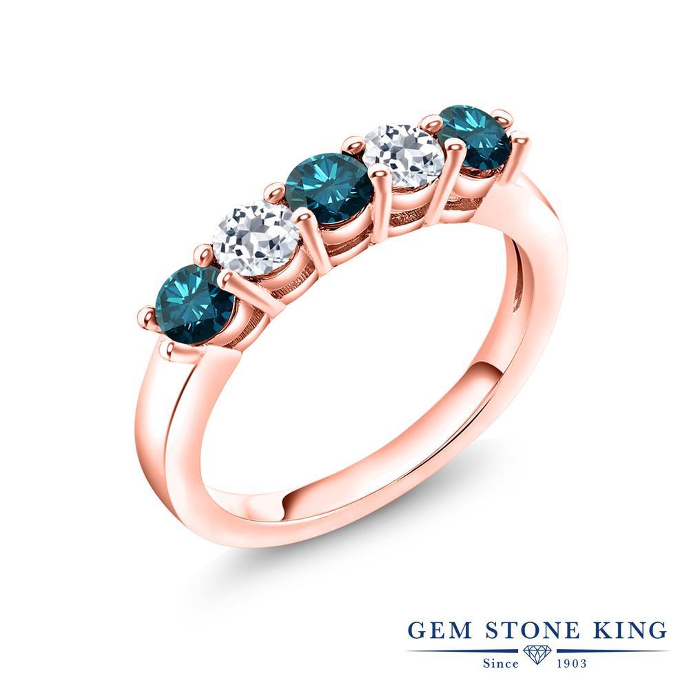 0.88カラット 天然 ブルーダイヤモンド 指輪 レディース リング トパーズ ピンクゴールド 加工 シルバー925 ブランド おしゃれ 5連 ブルー ダイヤ 青 小粒 バンド 天然石 4月 誕生石 結婚指輪 ウェディングバンド