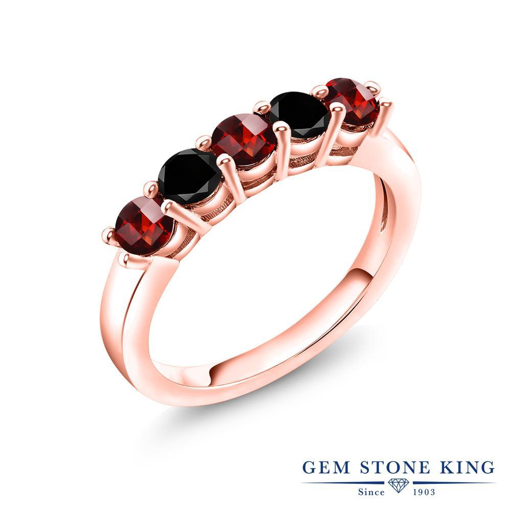 Gem Stone King 1.09カラット 天然 ガーネット 天然ブラックダイヤモンド シルバー925 ピンクゴールドコーティング 指輪 リング レディース 小粒 バンド 天然石 1月 誕生石 金属アレルギー対応 結婚指輪 ウェディングバンド