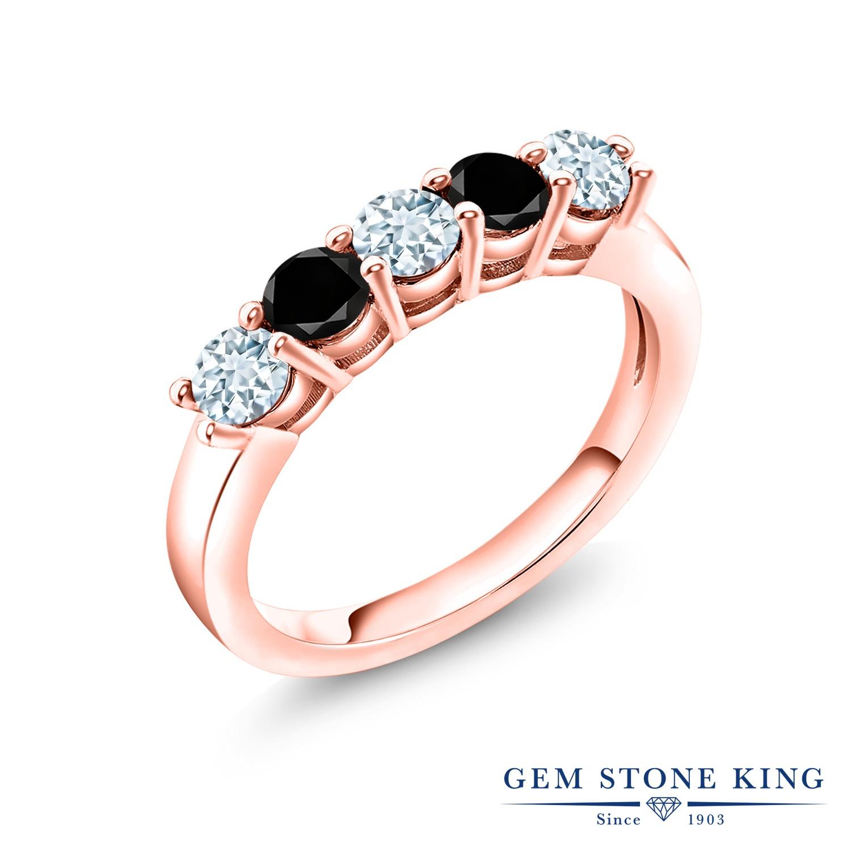 【10%OFF】 Gem Stone King 0.85カラット 天然 アクアマリン ブラックダイヤモンド 指輪 リング レディース シルバー925 ピンクゴールド 加工 小粒 バンド 天然石 3月 誕生石 結婚指輪 ウェディングバンド
