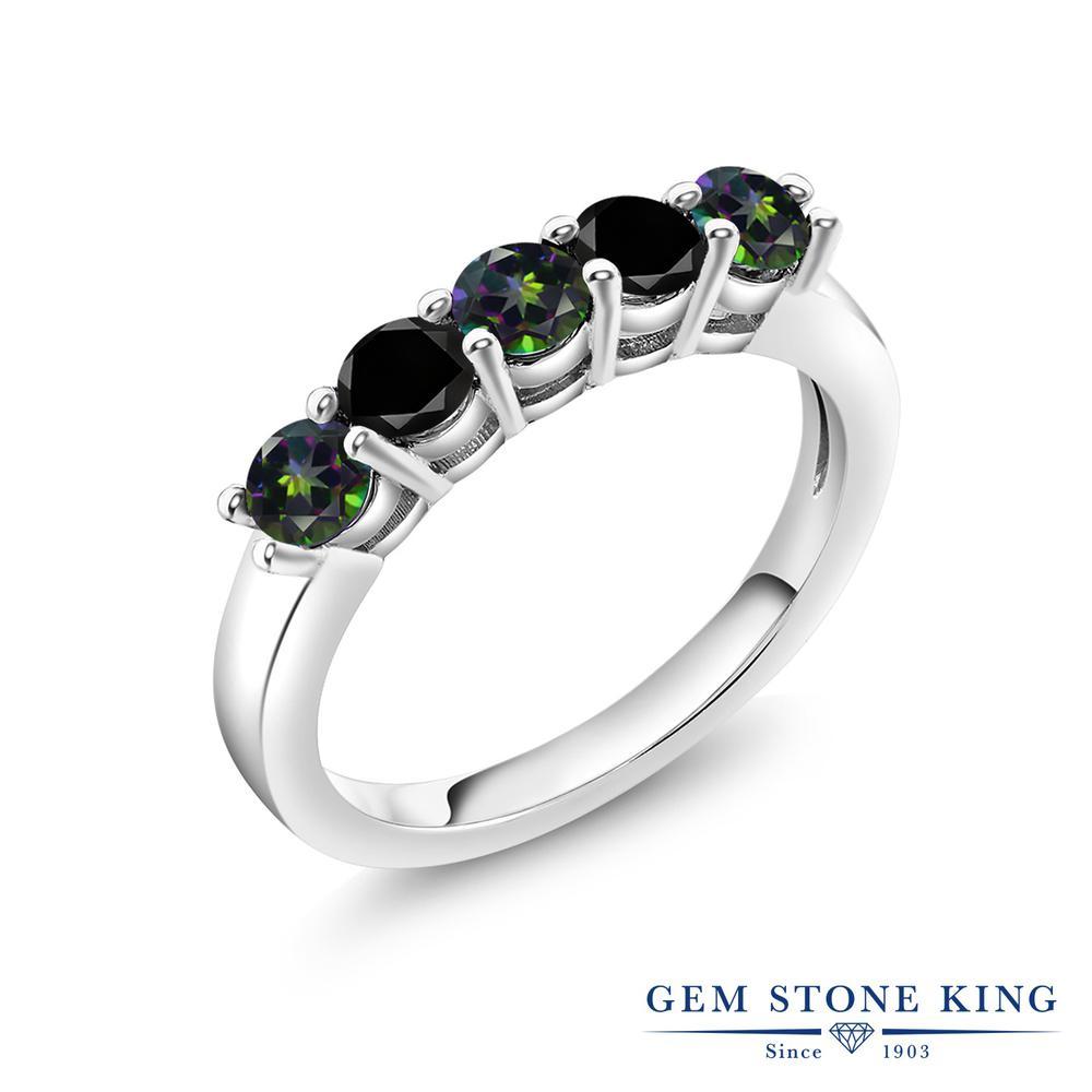 1.54カラット 天然石 ミスティックトパーズ (グリーン) 指輪 レディース リング ブラックダイヤモンド シルバー925 ブランド おしゃれ 5連 緑 小粒 バンド 結婚指輪 ウェディングバンド