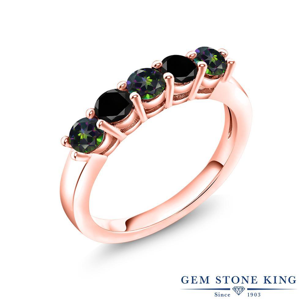 【10%OFF】 Gem Stone King 1.54カラット 天然石 ミスティックトパーズ (グリーン) ブラックダイヤモンド 指輪 リング レディース シルバー925 ピンクゴールド 加工 小粒 バンド 結婚指輪 ウェディングバンド