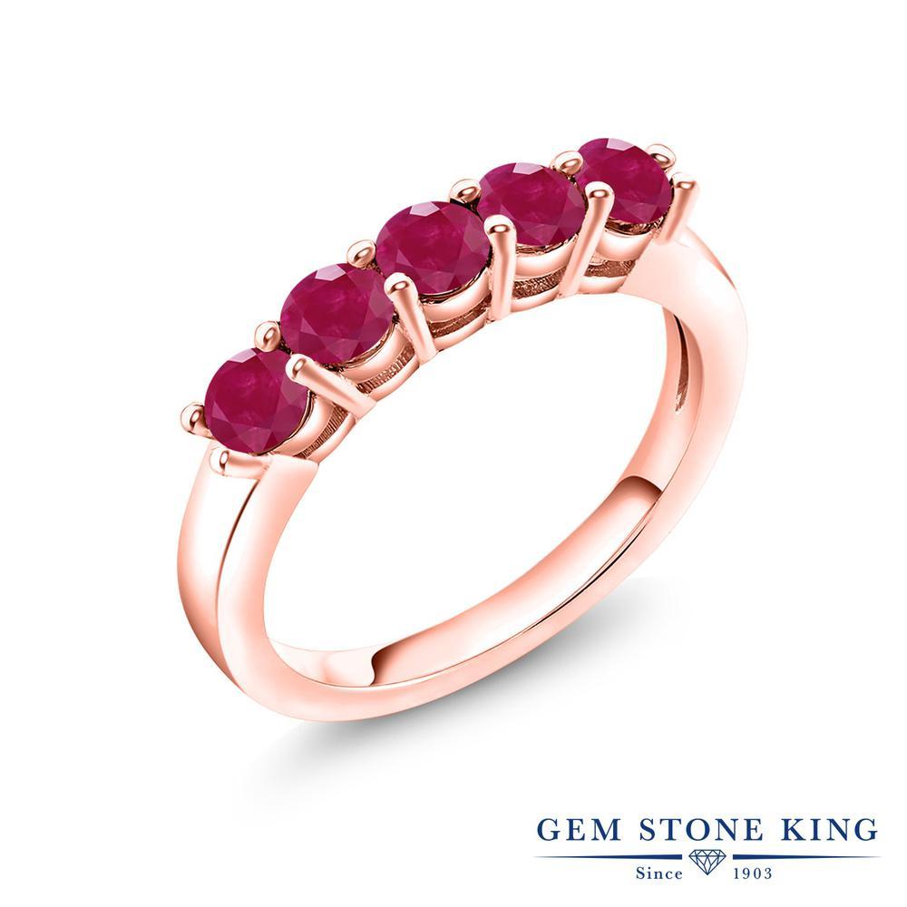 【10%OFF】 Gem Stone King 1.25カラット 天然 ルビー 指輪 リング レディース シルバー925 ピンクゴールド 加工 小粒 バンド 天然石 7月 誕生石 結婚指輪 ウェディングバンド