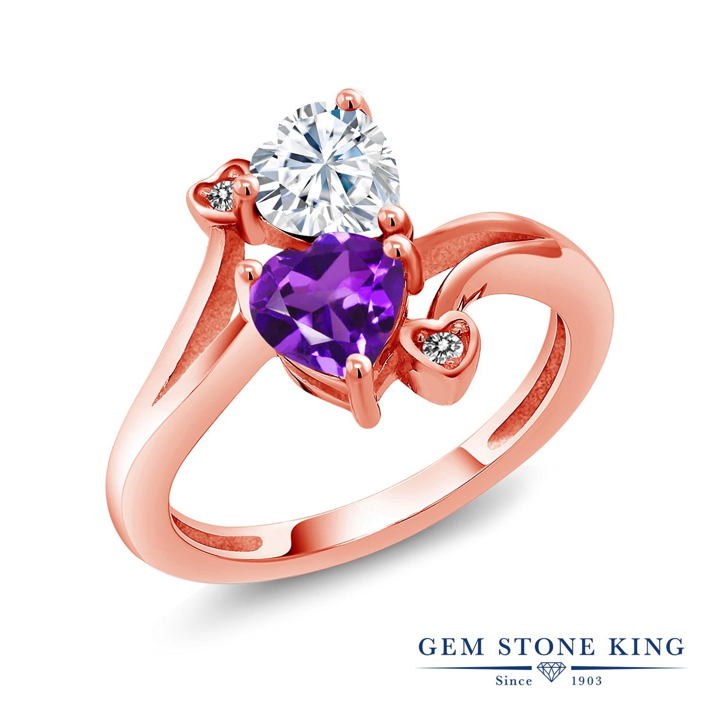 【10%OFF】 Gem Stone King 1.63カラット Forever Brilliant モアサナイト Charles & Colvard 天然 アメジスト ダイヤモンド 指輪 リング レディース シルバー925 ピンクゴールド 加工 モアッサナイト クリスマスプレゼント 女性 彼女 妻 誕生日