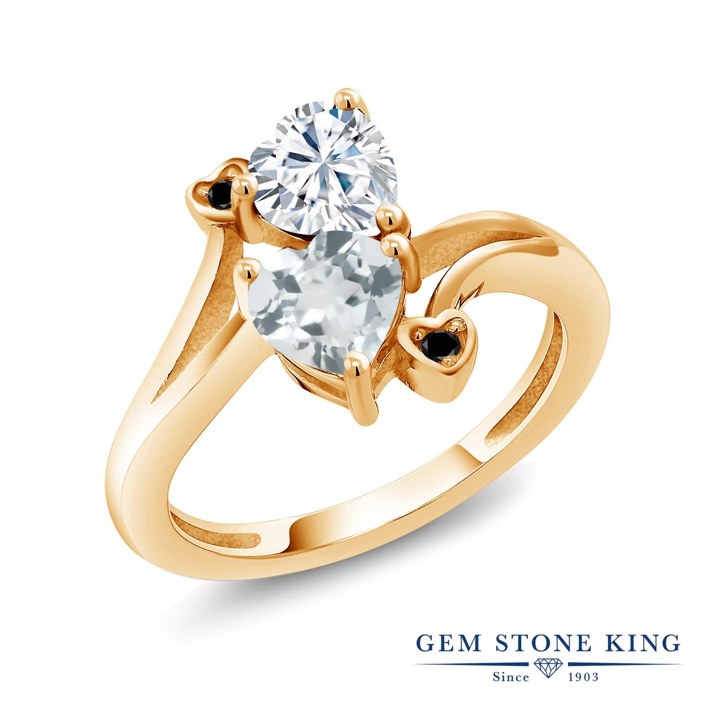 【10%OFF】 Gem Stone King 1.56カラット Forever Brilliant モアサナイト Charles & Colvard 天然 アクアマリン ブラックダイヤモンド 指輪 リング レディース シルバー925 イエローゴールド 加工 モアッサナイト クリスマスプレゼント 女性 彼女 妻 誕生日