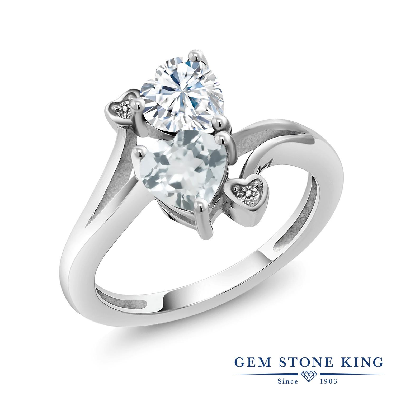 Gem Stone King 1.56カラット Forever Brilliant モアサナイト Charles & Colvard 天然 アクアマリン 天然 ダイヤモンド シルバー925 指輪 リング レディース モアッサナイト 金属アレルギー対応 誕生日プレゼント