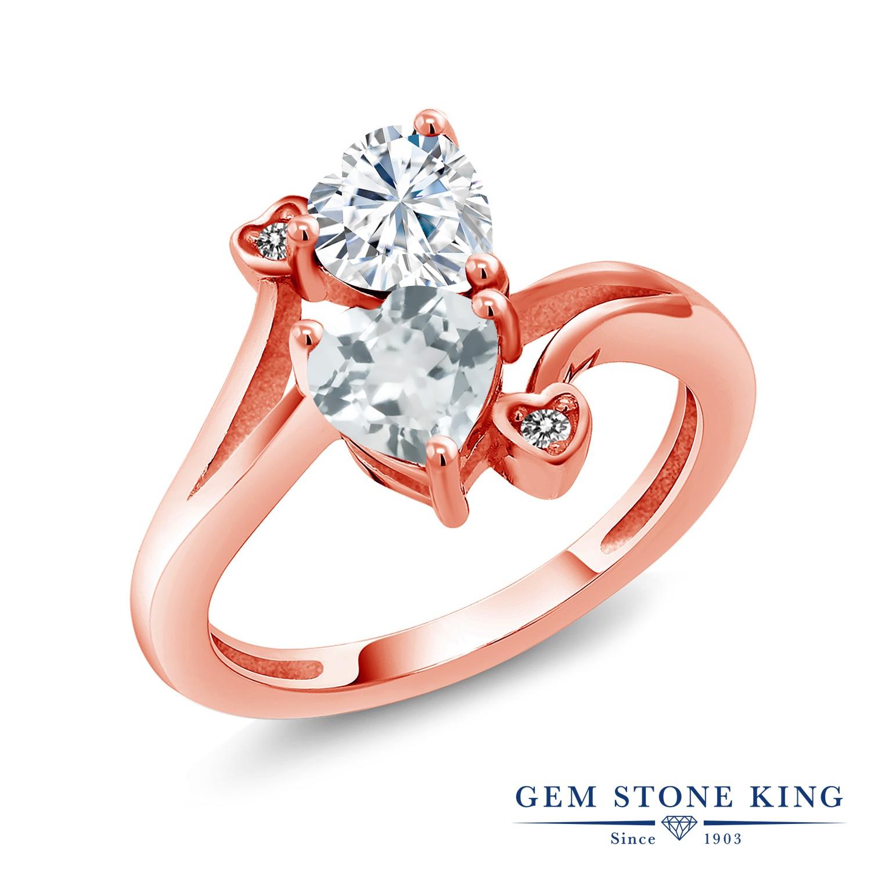 Gem Stone King 1.56カラット Forever Brilliant モアサナイト Charles & Colvard 天然 アクアマリン 天然 ダイヤモンド シルバー925 ピンクゴールドコーティング 指輪 リング レディース モアッサナイト 金属アレルギー対応 誕生日プレゼント