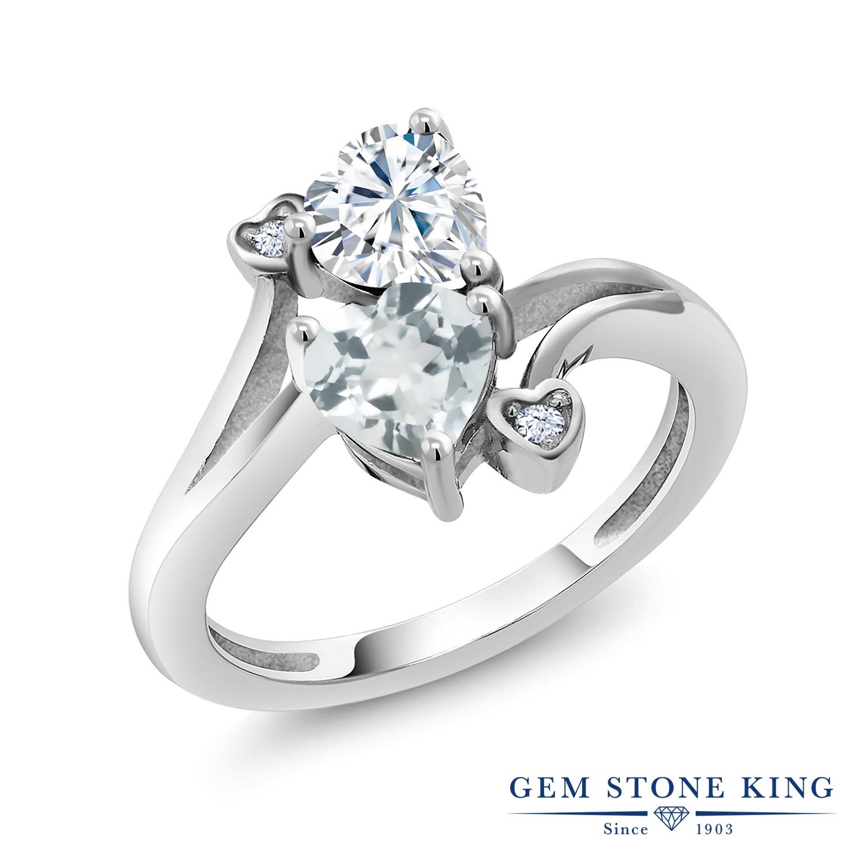 【10%OFF】 Gem Stone King 1.56カラット Forever Brilliant モアサナイト Charles & Colvard 天然 アクアマリン 指輪 リング レディース シルバー925 モアッサナイト クリスマスプレゼント 女性 彼女 妻 誕生日