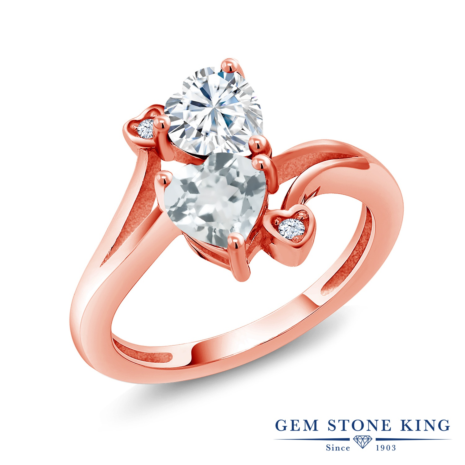 【10%OFF】 Gem Stone King 1.56カラット Forever Brilliant モアサナイト Charles & Colvard 天然 アクアマリン 指輪 リング レディース シルバー925 ピンクゴールド 加工 モアッサナイト クリスマスプレゼント 女性 彼女 妻 誕生日
