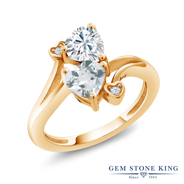 【10%OFF】 Gem Stone King 1.56カラット Forever Brilliant モアサナイト Charles & Colvard 天然 アクアマリン 指輪 リング レディース シルバー925 イエローゴールド 加工 モアッサナイト クリスマスプレゼント 女性 彼女 妻 誕生日