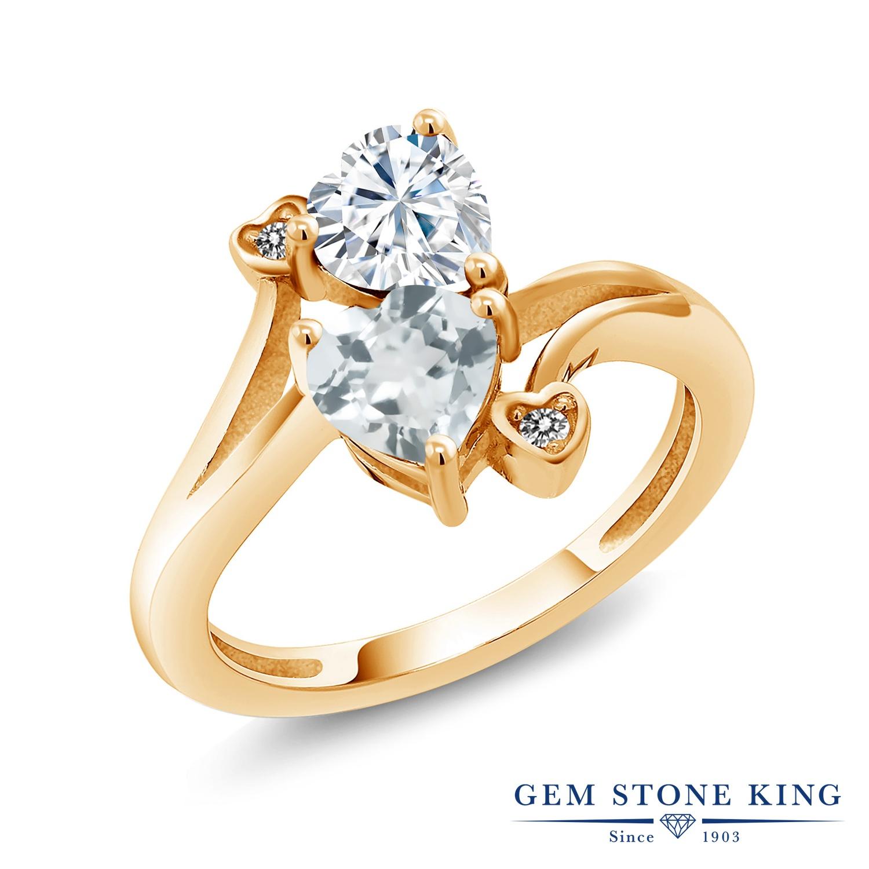 Gem Stone King 1.56カラット Forever Brilliant モアサナイト Charles & Colvard 天然 アクアマリン 天然 ダイヤモンド シルバー925 イエローゴールドコーティング 指輪 リング レディース モアッサナイト 金属アレルギー対応 誕生日プレゼント