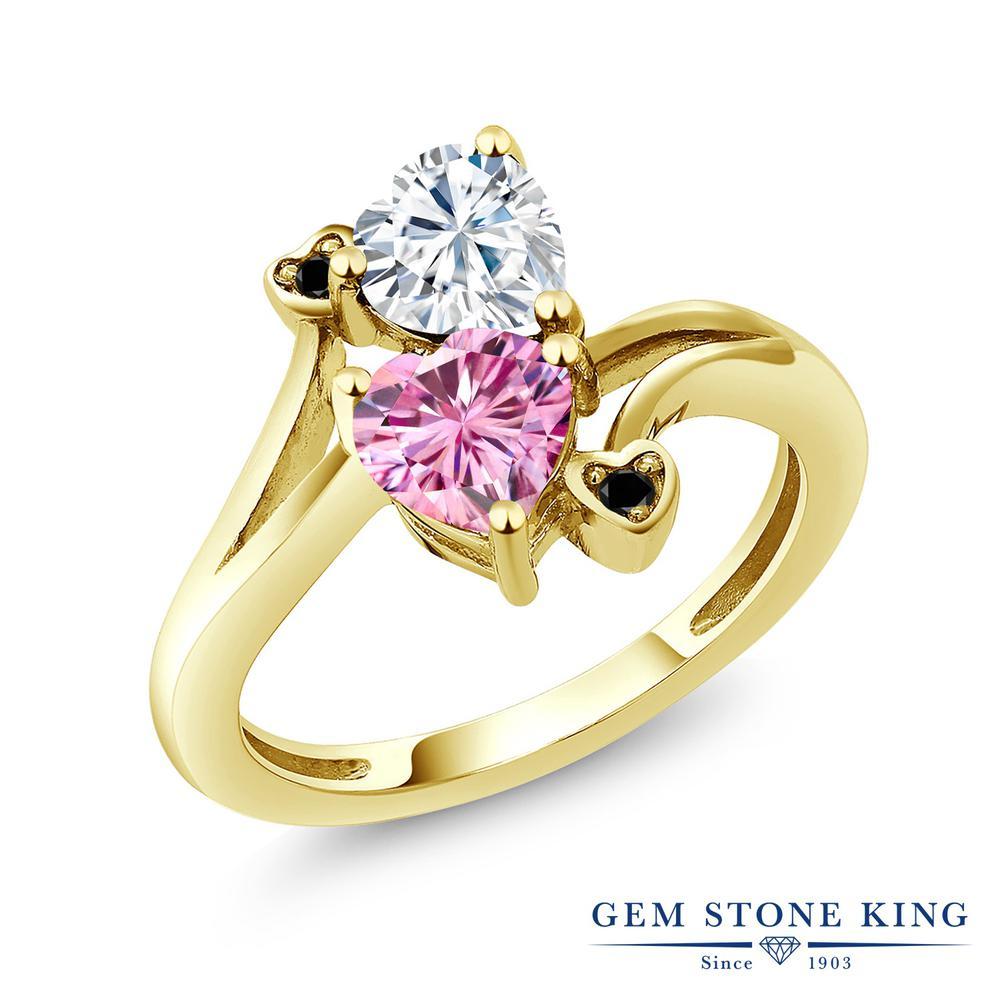 Gem Stone King 1.63カラット Forever Brilliant モアサナイト Charles & Colvard モアサナイト Charles & Colvard 天然ブラックダイヤモンド シルバー925 イエローゴールドコーティング 指輪 リング レディース モアッサナイト 金属アレルギー対応 誕生日プレゼント