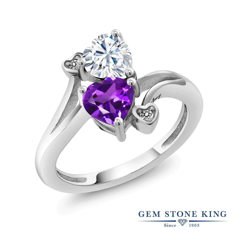 【10%OFF】 Gem Stone King 1.63カラット Forever Brilliant モアサナイト Charles & Colvard 天然 アメジスト ダイヤモンド 指輪 リング レディース シルバー925 モアッサナイト クリスマスプレゼント 女性 彼女 妻 誕生日
