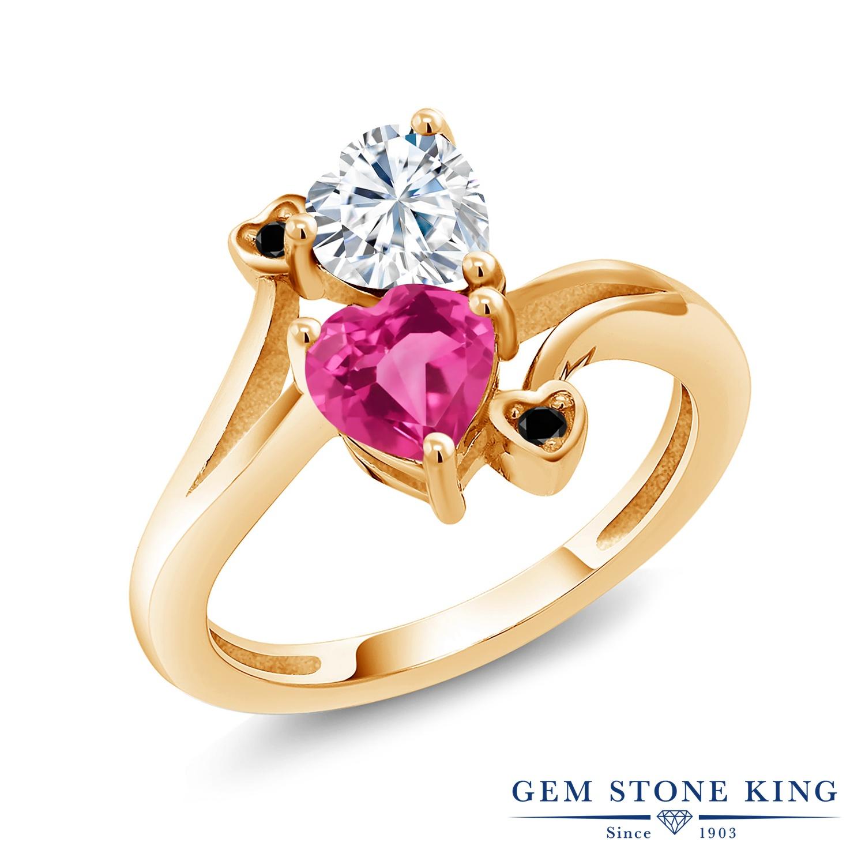 Gem Stone King 1.63カラット Forever Brilliant モアサナイト Charles & Colvard 合成ピンクサファイア 天然ブラックダイヤモンド シルバー925 イエローゴールドコーティング 指輪 リング レディース モアッサナイト 金属アレルギー対応 誕生日プレゼント
