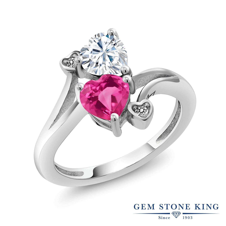 【10%OFF】 Gem Stone King 1.63カラット Forever Brilliant モアサナイト Charles & Colvard 合成ピンクサファイア 天然 ダイヤモンド 指輪 リング レディース シルバー925 モアッサナイト クリスマスプレゼント 女性 彼女 妻 誕生日